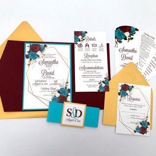 Floral & Geometric Frame Wedding Invitation
