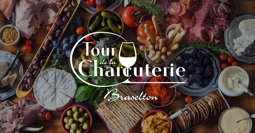 Tour de la Charcuterie logo with charcuterie board photo