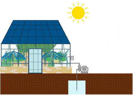 Luzentum - Agrovoltaica. Invernadero solar. Cultivo solar en invernaderos. Paneles solares en el techo de los invernaderos. Bombeo solar. Cultivo solar para invernaderos.