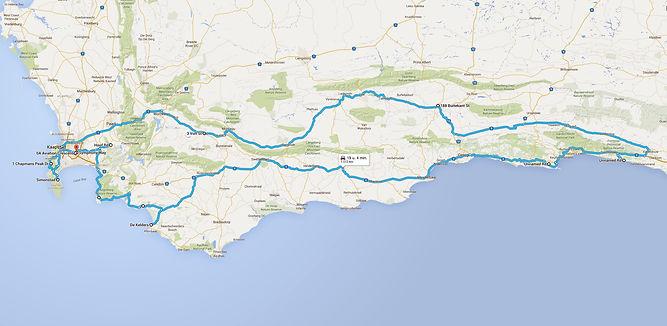 Route westelijk Zuid-Afrika