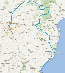 Route oostelijk Zuid-Afrika