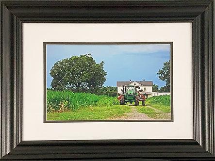 Green Spotsy Tractor (16x20 Framed)
