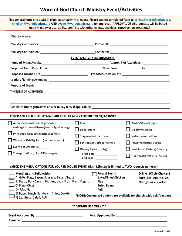 Electronic Ministry Event Request Form u