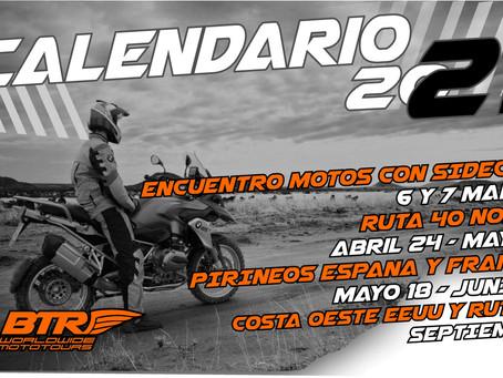 Calendario BTR Viajes en Moto 2021