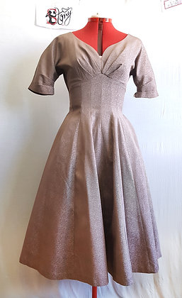Copper Heart- Copper Flake. 12 Panel Vintage Swing dress with pockets.