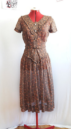 """Vintage 40's """"Jean Lang"""" Brown dress"""