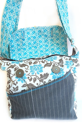 Blue Tapestry. Messenger bag with extra long strap. Collection-Joy of Purses