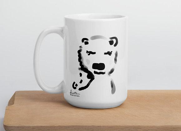 Momma Bear Polar Bear and Baby Kisses Illustration Mug