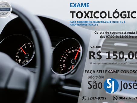 Exame Toxicológico- R$150,00