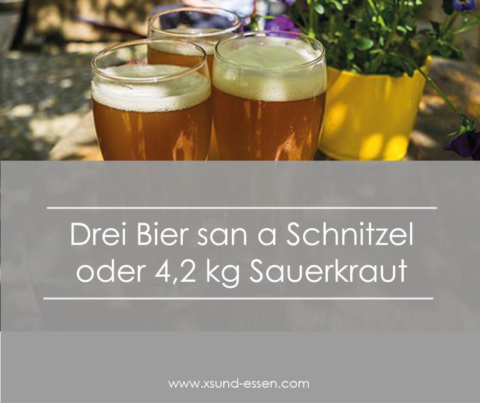 3 Bier sind ein Schnitzel mit gut 630 Kilokalorien
