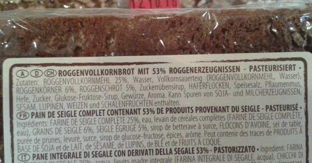 Brot mit Zuckerzusatz (Zuckerrübensirup, Glukose-Fructose-Sirup)
