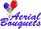 Logo for Aerial Bouquets featuring a group of two helium balloons and three flowers all floating together and connected with string.