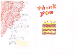 """A handwritten note with a drawing in crayon of a birthday cake with candles and the words """"thank you."""" The note in pencil reads: """"I had the best birthday ever. I had fun thank you for everything. Love, [name redacted]"""""""