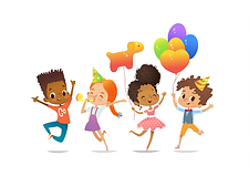 Illustration of four multi-racial kids all jumping for joy. One is blowing into a party noise-maker. Two others are holding colorful helium balloons.