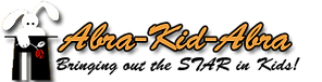 """Logo for Abra-Kid-Abra, picturing a white rabbit coming out of a black tophat. The tagline reads: """"Bringing out the star in kids!"""""""