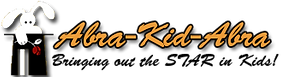 "Logo for Abra-Kid-Abra, picturing a white rabbit coming out of a black tophat. The tagline reads: ""Bringing out the star in kids!"""