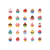 Illustration of a 5 by 5 grid of uniquely decorated cupcakes