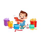 Illustration of a boy surrounded by colorfully-wrapped presents, currently unwrapping a dinosaur toy from a gift box.