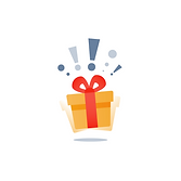Illustration of a yellow gift box with a red bow. It is apparently vibrating and there are exclamation marks above it.