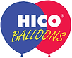 Logo for HICO Balloons, featuring one blue and one red balloon.