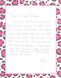 """A handwritten thank-you note that reads:  """"Dear It's Your Birthday, I cannot express how much we appreciate you coming to TWSH month after month. The children and ladies love them so much. From the magic shows to the snacks all the way to the gifts that you give. You all dedicate your time and energy to make each child feel special. I hope you are able to continue to bless future families to come."""""""