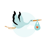 Illustration of a stork flying and with its beak it is carrying a satchel with a heart-shape stamped on it.