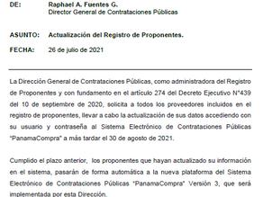 Panamá: Actualización de Registro de Proponentes en PanamaCompra vence 30 de agosto.