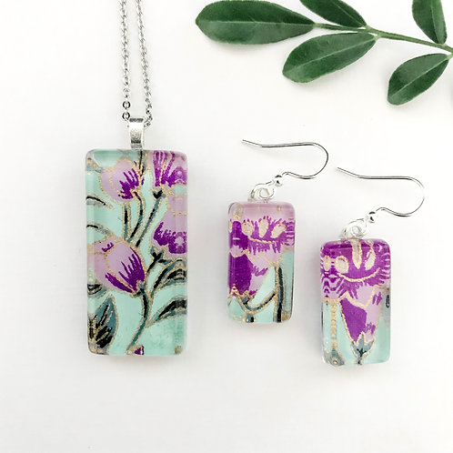 pendant and earring set ~ purple and green flowers