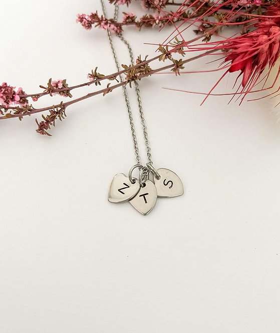3 x heart shapes with your letters & chain