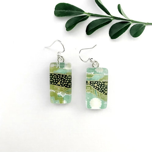 greens, black and gold Japanese paper earrings