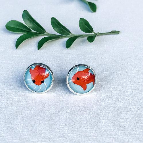 stud earrings little orange fish