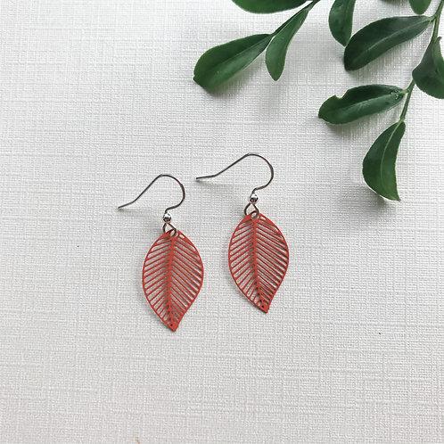Rust Brown/Orange Leaf Earrings