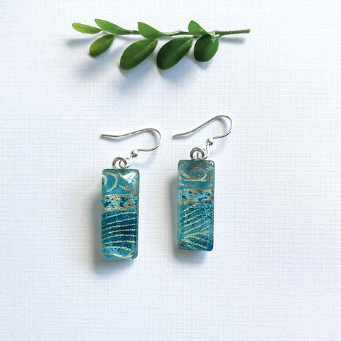 blues and gold japanese paper glass earrings