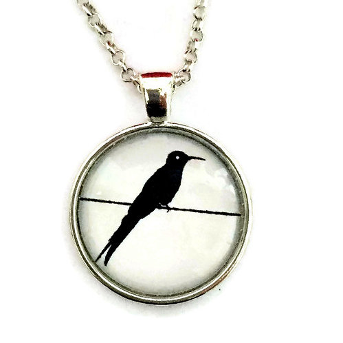 bird on a wire on white necklace