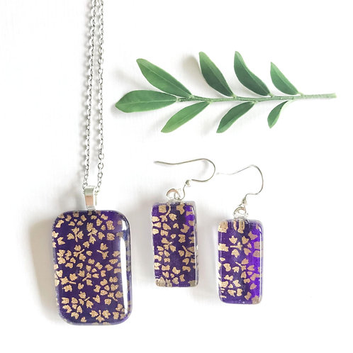 purple & gold pendant and earring set