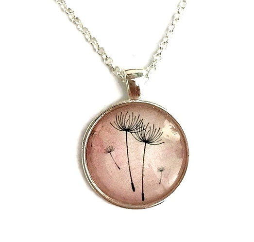 dandelion stems on pink necklace