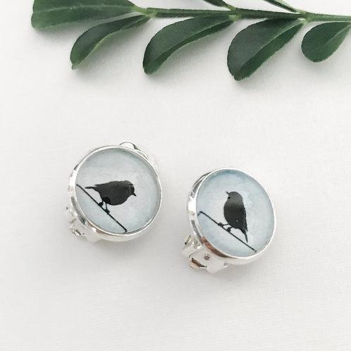 clip-on earrings ~ black birds