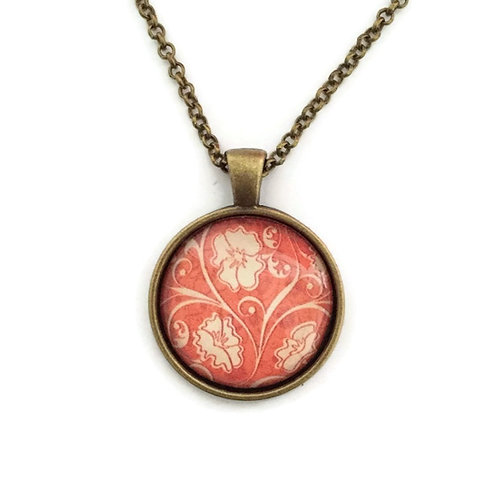 antique style orange pattern necklace