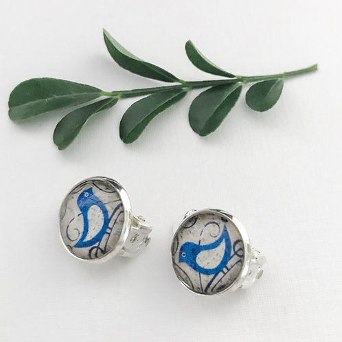 clip-on earrings ~ blue birds