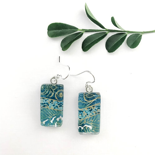 Japanese paper earrings with blues and golds