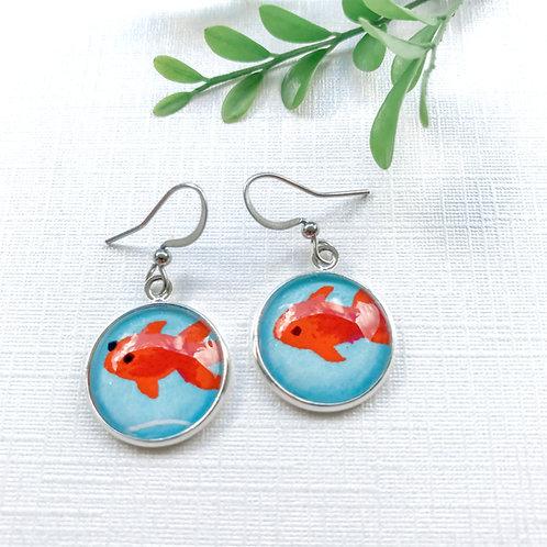 japanese paper earrings ~ orange fish