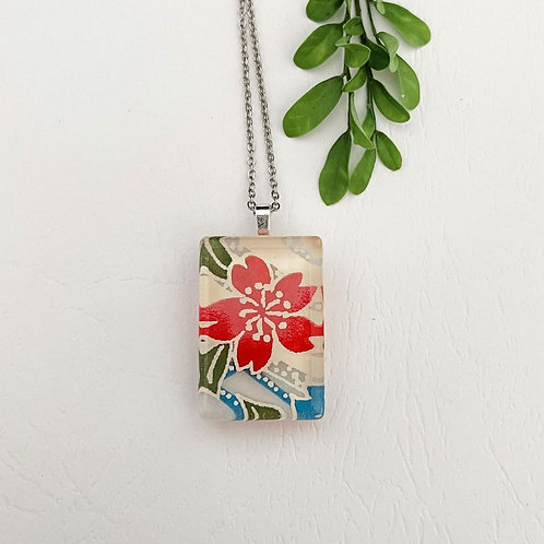 red flower with green & blue leaves Japanese paper necklace