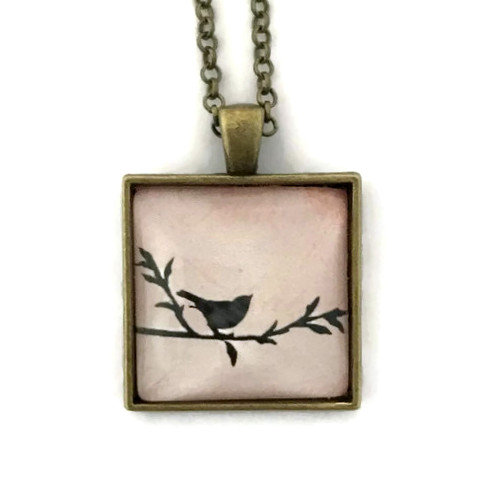 cute little bird on a square necklace
