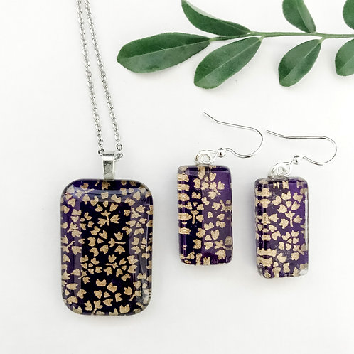 pendant and earring set ~ purple and golds