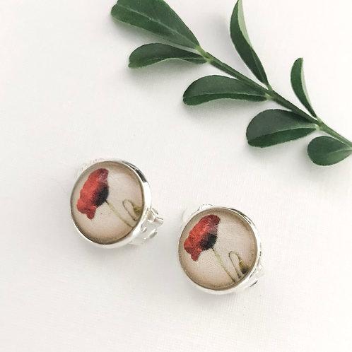 clip-on earrings ~ poppies