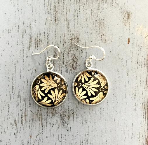 gold patterned Japanese paper earrings