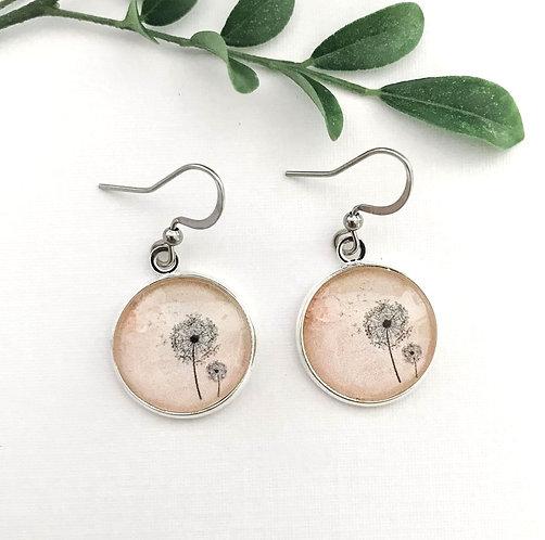 light peach dandelion earrings