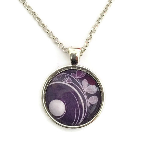 purple swirl pattern necklace