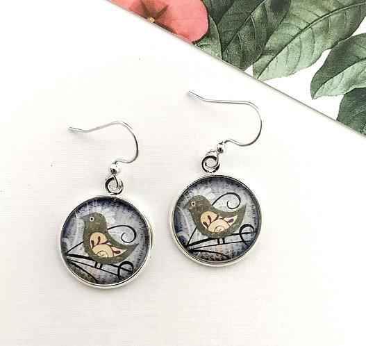 olive green little bird earrings