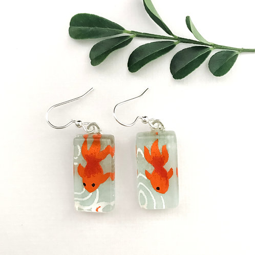 Japanese paper earrings with orange coy fish on green